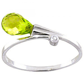 Peridot & Diamond Droplet Ring in 9ct White Gold