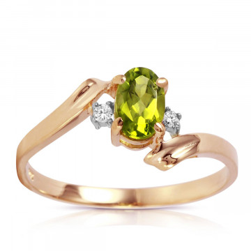 Peridot & Diamond Embrace Ring in 9ct Rose Gold