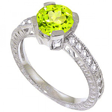 Peridot & Diamond Renaissance Ring in 9ct White Gold