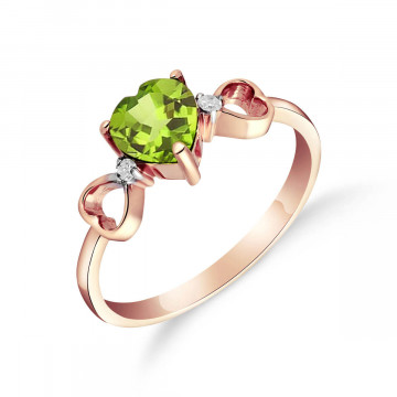 Peridot & Diamond Trinity Ring in 9ct Rose Gold