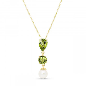 Peridot & Pearl Hourglass Pendant Necklace in 9ct Gold
