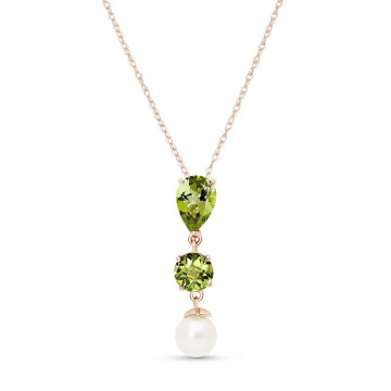 Peridot & Pearl Hourglass Pendant Necklace in 9ct Rose Gold