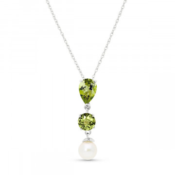 Peridot & Pearl Hourglass Pendant Necklace in 9ct White Gold