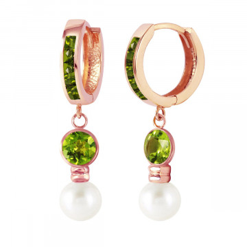 Peridot & Pearl Huggie Earrings in 9ct Rose Gold