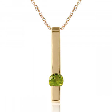 Peridot Bar Drop Pendant Necklace 0.25 ct in 9ct Gold