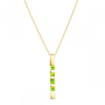 Peridot Bar Pendant Necklace 0.35 ctw in 9ct Gold