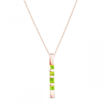 Peridot Bar Pendant Necklace 0.35 ctw in 9ct Rose Gold
