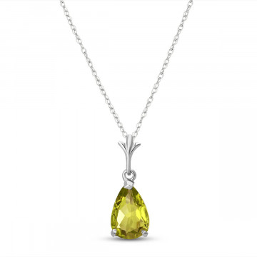 Peridot Belle Pendant Necklace 1.5 ct in 9ct White Gold