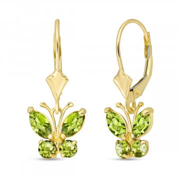 Peridot Butterfly Drop Earrings 1.24 ctw in 9ct Gold