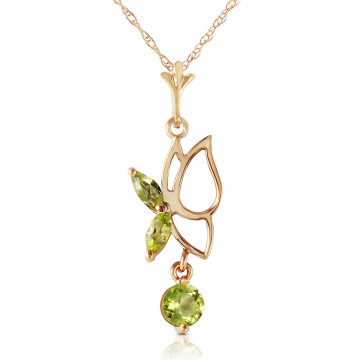 Peridot Butterfly Pendant Necklace 0.18 ctw in 9ct Gold