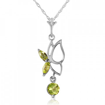 Peridot Butterfly Pendant Necklace 0.18 ctw in 9ct White Gold