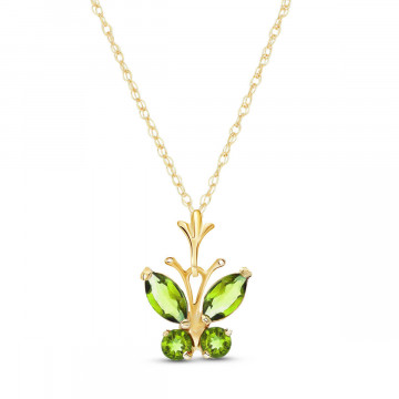 Peridot Butterfly Pendant Necklace 0.6 ctw in 9ct Gold