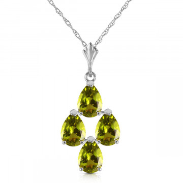 Peridot Chandelier Pendant Necklace 2.25 ctw in 9ct White Gold