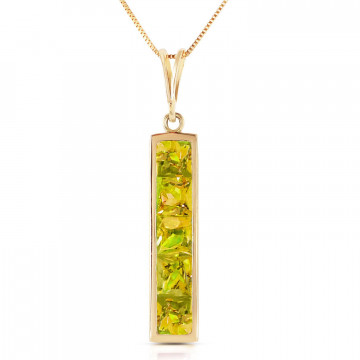 Peridot Channel Set Pendant Necklace 2.25 ctw in 9ct Gold