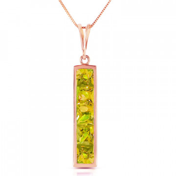 Peridot Channel Set Pendant Necklace 2.25 ctw in 9ct Rose Gold