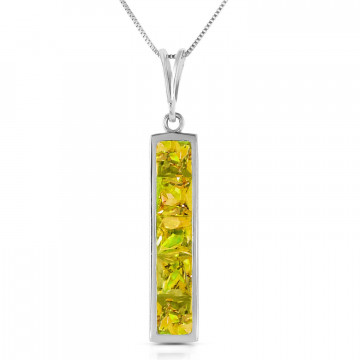 Peridot Channel Set Pendant Necklace 2.25 ctw in 9ct White Gold
