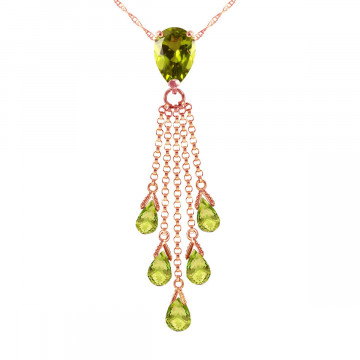 Peridot Comet Tail Pendant Necklace 7.5 ctw in 9ct Rose Gold