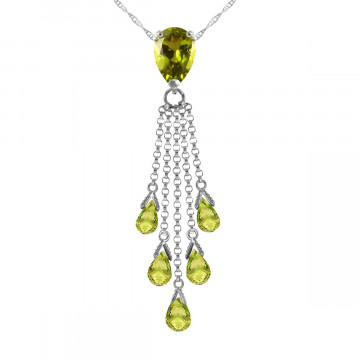 Peridot Comet Tail Pendant Necklace 7.5 ctw in 9ct White Gold