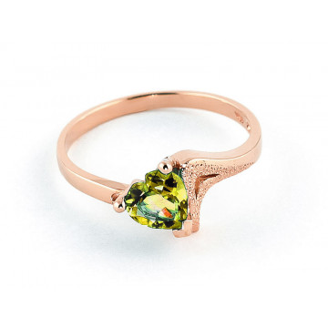 Peridot Devotion Ring 0.6 ct in 9ct Rose Gold