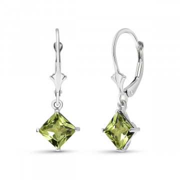 Peridot Drop Earrings 3.2 ctw in 9ct White Gold