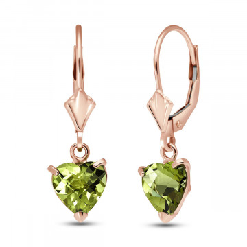 Peridot Drop Earrings 3.25 ctw in 9ct Rose Gold
