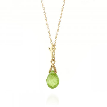Peridot Droplet Pendant Necklace 2.5 ct in 9ct Gold