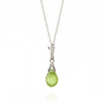 Peridot Droplet Pendant Necklace 2.5 ct in 9ct White Gold