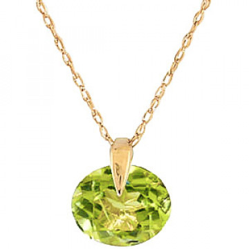 Peridot Gem Drop Pendant Necklace 1 ct in 9ct Gold