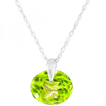 Peridot Gem Drop Pendant Necklace 1 ct in 9ct White Gold