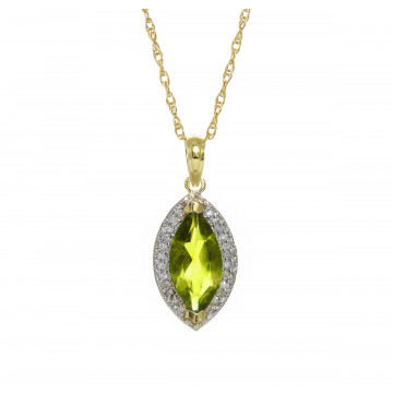 Peridot Halo Pendant Necklace 2.15 ctw in 9ct Gold