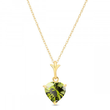 Peridot Heart Pendant Necklace 1.15 ct in 9ct Gold