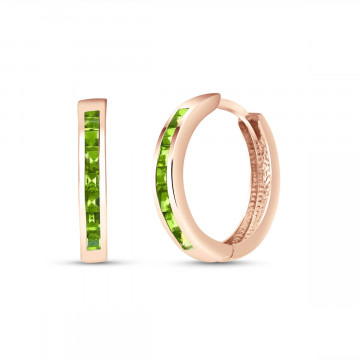 Peridot Huggie Earrings 1.4 ctw in 9ct Rose Gold