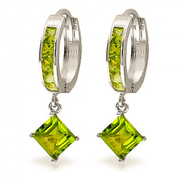 Peridot Huggie Hoop Earrings 4 ctw in 9ct White Gold