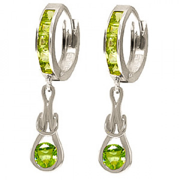 Peridot Loop Knot Huggie Earrings 1 ctw in 9ct White Gold