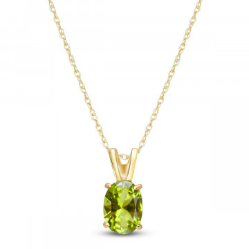 Peridot Oval Pendant Necklace 0.85 ct in 9ct Gold