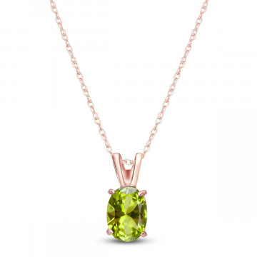 Peridot Oval Pendant Necklace 0.85 ct in 9ct Rose Gold