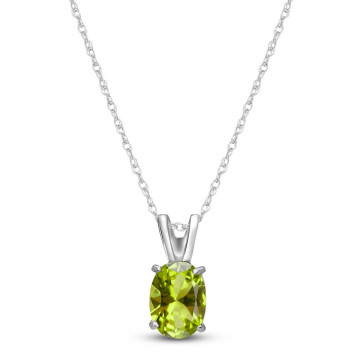Peridot Oval Pendant Necklace 0.85 ct in 9ct White Gold