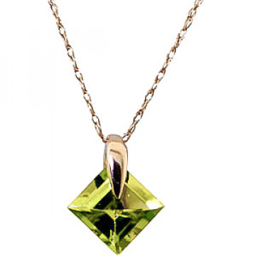 Peridot Princess Pendant Necklace 1.16 ct in 9ct Gold