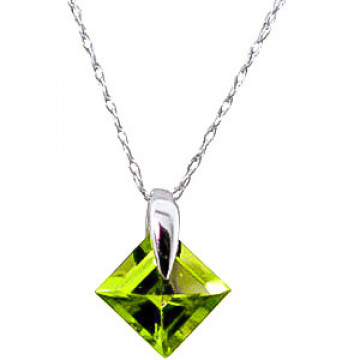 Peridot Princess Pendant Necklace 1.16 ct in 9ct White Gold