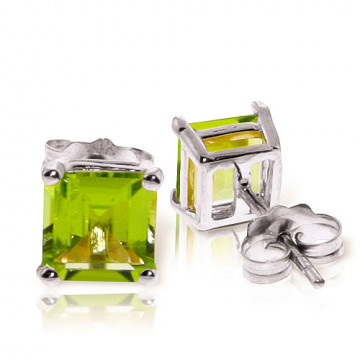 Peridot Stud Earrings 1.75 ctw in 9ct White Gold