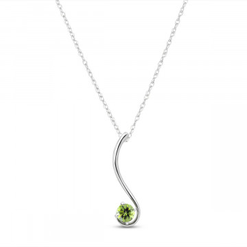 Peridot Swish Pendant Necklace 0.55 ct in 9ct White Gold