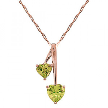 Peridot Twin Pendant Necklace 1.4 ctw in 9ct Rose Gold