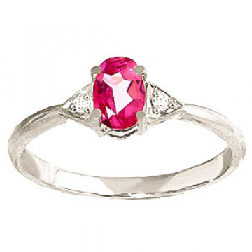 Pink Topaz & Diamond Allure Ring in 9ct White Gold