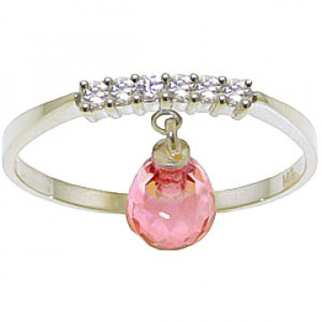 Pink Topaz & Diamond Band in 9ct White Gold