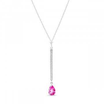 Pink Topaz & Diamond Bar Pendant Necklace in 9ct White Gold