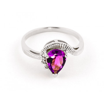 Pink Topaz & Diamond Belle Ring in 9ct White Gold