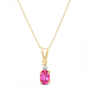 Pink Topaz & Diamond Cap Oval Pendant Necklace in 9ct Gold