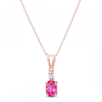 Pink Topaz & Diamond Cap Oval Pendant Necklace in 9ct Rose Gold