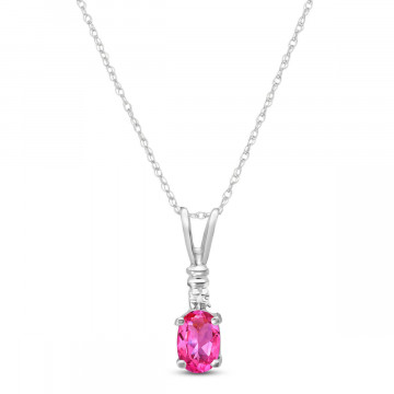 Pink Topaz & Diamond Cap Oval Pendant Necklace in 9ct White Gold