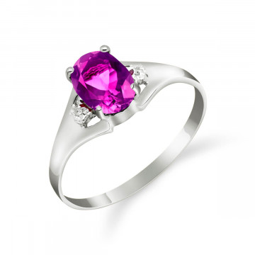 Pink Topaz & Diamond Desire Ring in 9ct White Gold